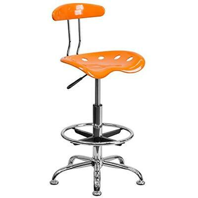 Vibrant Home & Kitchen Features Orange And Chrome Drafting Stool With Tractor