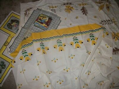 Vintage Linens Lot of 4 Yellow Autumn Shades 40's Tablecloth tea towels curtain