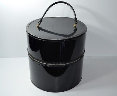 Vintage Black Patent Vinyl Hat Box Wig Carrier With Styrofoam Head