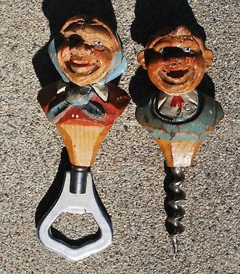 Vintage German Hand Carved Pair of Wooden Figures Bottle Opener Wine Corker