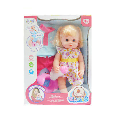 Realistic Training Drink & Potty Baby Girl Doll Lifelike Vinyl in Purple Clothes