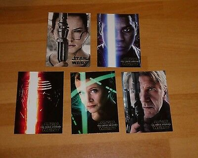 2016 Topps Star Wars THE FORCE AWAKENS SERIES 2 POSTERS COMPLETE SET OF 5 REY