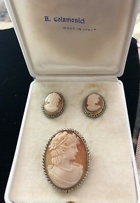 Vintage A. Colamonici Italy 800 Silver Shell Cameo Pendant Brooch Earrings Set