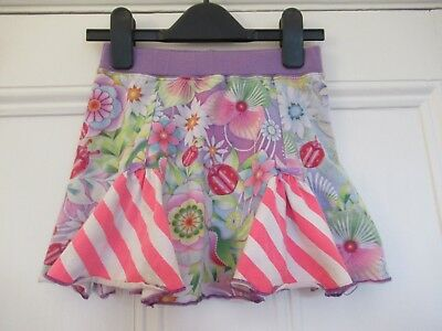 4-6 yrs: Lovely bright skirt: Floral/Pink stripes: Cotton/Elastane: Scandi MOLO