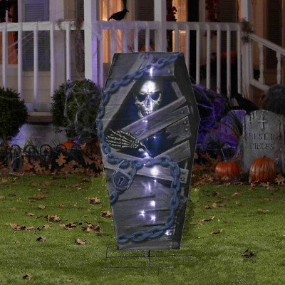 "Halloween Lighted Battery-Operated 20 White LED 48"" Lantern Coffin with Skeleton"