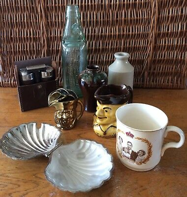 Antique/Vintage Job Lot, Toby Jugs, Grooming Set, Ashtray, Bottles. 8 Items.