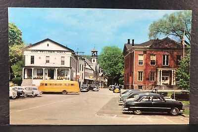 Postcard Roger Sherman Hall New Milford CT Odd Fellows Hall Street View 1950s