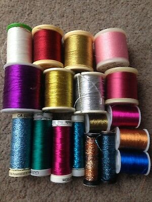 Metallic Threads X 18 New & Used Assorted Colours