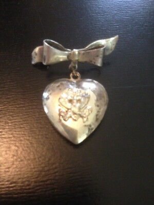 WW2 Sweetheart Pin, Heart with Army Eagle Below Bow, Sterling
