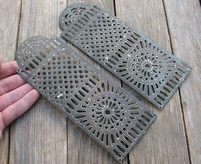 Old Pair of Ornate Reclaimed Brass Door Finger Push Plates 1 of 2 Pairs
