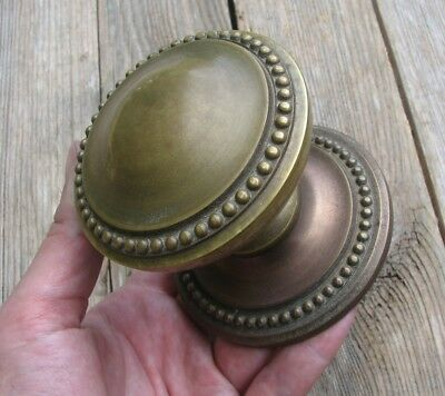 Vintage Reclaimed Brass Centre Door Pull Knob / Handle / Bead Edge