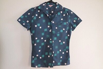 NOS Atomic Vintage 50s 60s Mid Century Shirt Teal Beatnik Rockabilly Music Top