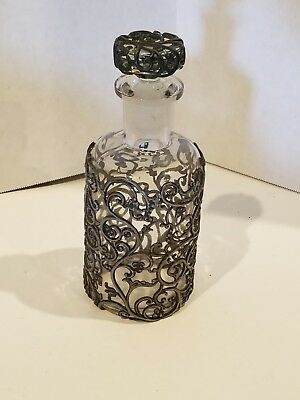 Vintage Apothecary Glass Bottle w/Pewter Filigree Overlay