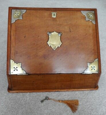 Antique Victorian drop front stationery box/slope with two inkwells.