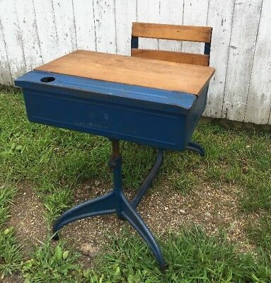 Vintage Student Desk with Oak and Metal Blue with Inkwell and Flip Top Adjustabl