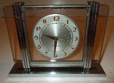 Vintage Art Deco Westclox Leland Chrome And Pink Glass Clock- Parts Or Repair