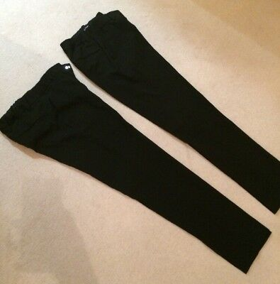 2 Pairs Of Boys Black Super Skinny School Trousers From M&S Age 14-15 Years