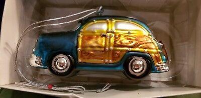 Dept 56 Woody Station Wagon Handpainted Glass Christmas Ornament