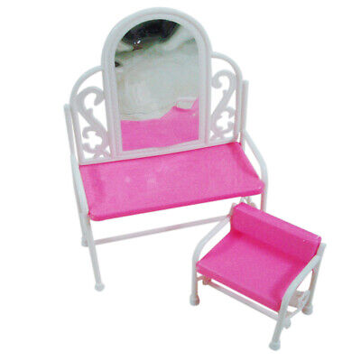 Pink Dressing Table Chair Set Bedroom Furniture Decor for Sindy Dolls