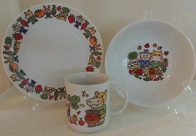 Vintage Child's Breakfast Set Bowl Cup Plate Hippo & Pig Made in Japan 1970s