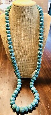 Antique Vintage Turquoise Strand Long Necklace Hand Knotted-Very Old-Beutiful!