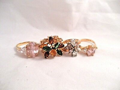 Fabulous! 18k 14k Gold Plated Faux Jewels Gorgeous!  Estate Ring Lot