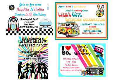 50S 60S 70S 80s Personalised Theme Party Invitations Male Female