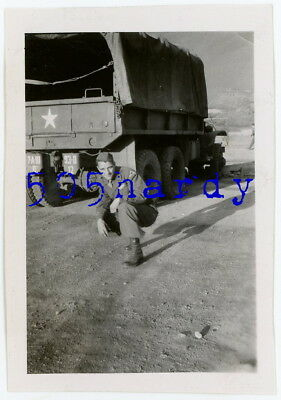 WWII US GI Photo - 7th Army GI (Photo Owner) w/ 7th Army 93 D Marked Truck