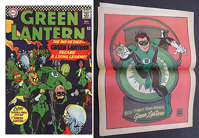 Green Lantern #46 - Nice Higher Grade With Pin-Up Attached - Great Cover 1966