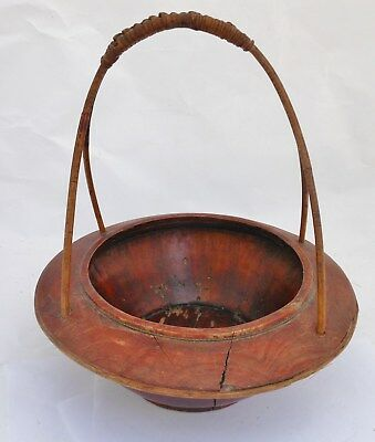 Great Antique Chinese Wooden Basket with Wrapped Rattan Handle