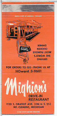 Mighion's Drive-In Restaurant, Mt. Clemens, MI. matchcover 1950s