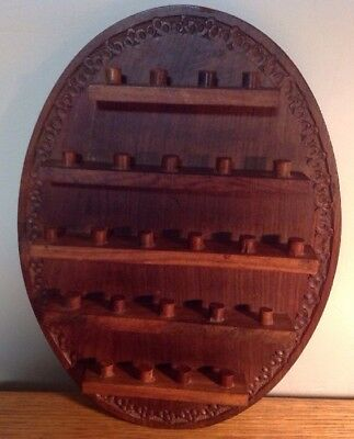 WOODEN WALL HANGING THIMBLE DISPLAY HOLDS 24 Hand Made India Oval SHAPE