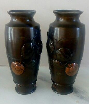 Pair of Antique Japanese Bronze metal Vases Meiji period 19th century patinated.