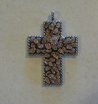 Hand Crafted Brown & Black Swirled Clay Design Antique Silver Cross Pendant