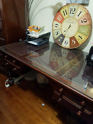 Solid Mahogany DESK with glass top with bookcase