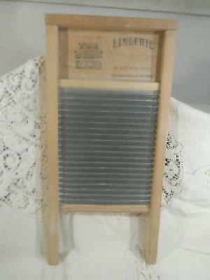 Antique Wood & Tin Metal National WashBoard Lingerie 'THE ZING KING' No.703~USA~