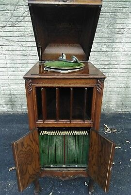 Columbia A M Graphophone Floor Model Oak w record holding file delivery antique