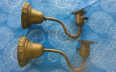 Pair Antique Vtg Stamped Brass Wall Sconces  Light Fixtures