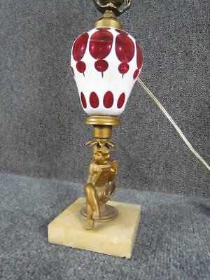 ANTIQUE 19c. AMERICAN OVERLAY LAMP WITH FIGURAL CHERUB BASE