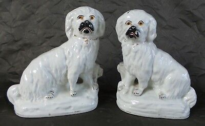 Rare Pair Of Antique Staffordshire Spaniel Figurines - 19Th Century - 6.25""