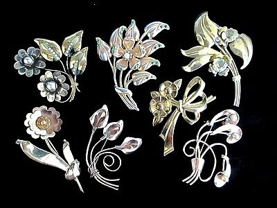 Vintage Retro 40s-60s Floral Pin/Brooch Lot  of 7 some GF