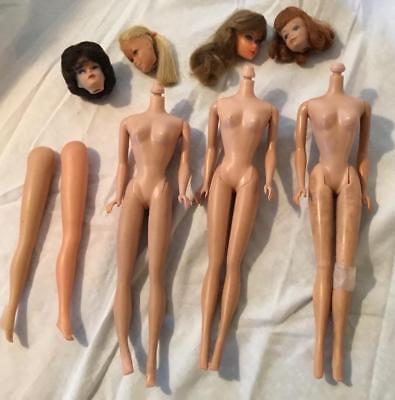 Vintageearly 1960  Barbie Doll 3 Bodies 4 Heads Barbie Midge Skipper For Parts