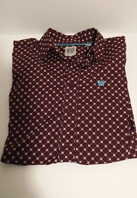 Cinch Women's Small White Teal Maroon Long Sleeve Western Rodeo Button-Down