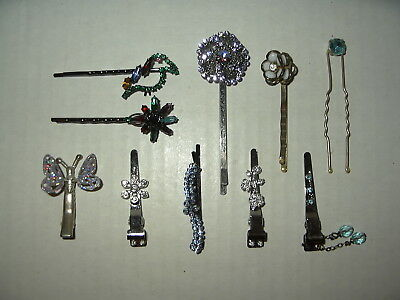 10 Pc. Vintage Silvertone Metal & Colored Crystal Bobby Pins & Hair Clips Lot