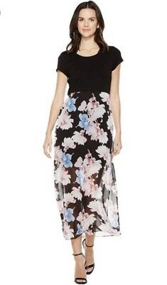 b0ed1209ed1214 Vince Camuto Poetic Bouquet Maxi Dress Overlay Floral Print Black Multi XS   129