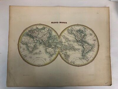 "Vintage 21"" Paris France Delamain Hemisphere Mappe Monde World Map Engrave Print"