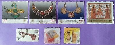 7x Indian Postage Stamps - Jewellery & Culture