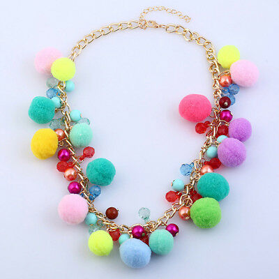 Hot Girls Jewelry Statement Women Party Pom Choker Boho Fur Ball Necklace