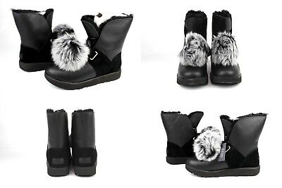 2cad6a31c55 UGG ISLEY WATERPROOF Leather Suede Pom Sheepskin Black Women's Boots Size  Us 9