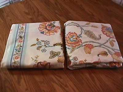 Vintage 2 Pc Set Floral Sheets Full Size Perma Prest Percale Sears Roebuck & Co.